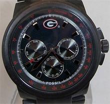 Georgia Bulldogs Fossil Watch Multifunction Mens Black IP Wristwatch