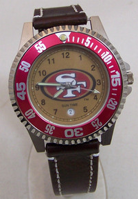 San Francisco 49ers Watch Mens Three Hand Date Wristwatch Suntime