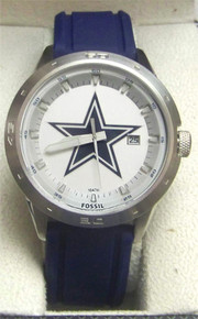 Dallas Cowboys Fossil Watch Mens three hand date Silicone Wristwatch