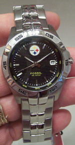 Pittsburgh Steelers Fossil Watch Mens 3 Hand Date Wristwatch NFL1045