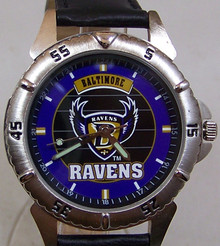 Baltimore Ravens Watch Fossil Mens Vintage 1997 Wristwatch with Tin