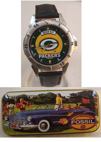 Green Bay Packers Vintage 97 Fossil watch on Black band