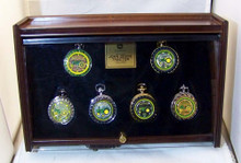 John Deere 6 Pocket Watch Display Case Franklin MInt Hard Wood