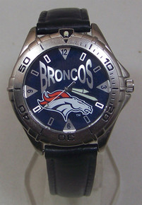 Denver Broncos Fossil Watch Mens Vintage 1998 Black Leather Wristwatch