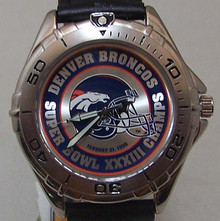 Denver Broncos Fossil Watch Mens Super Bowl XXXIII Vintage Wristwatch