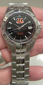 Cincinnati Bengals Fossil Watch Mens Three Hand Date Wristwatch