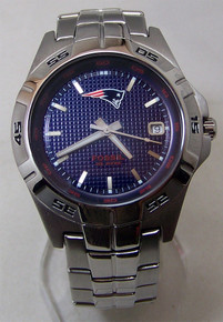 New England Patriots Fossil Watch Mens 3 Hand Date Wristwatch NFL1050