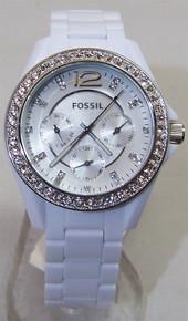 Fossil White Fashion Watch Womens Stella Ladies Glitz Multifunction