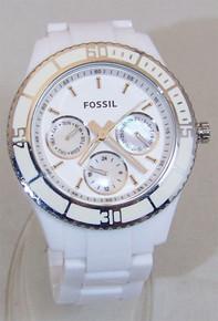 Fossil White Multifunction Watch Stella Ladies Resin Ceramic Top Ring