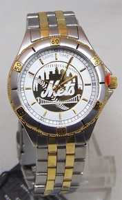 NY New York Mets Watch Mens Game Time Gold Logo Wristwatch GameTime