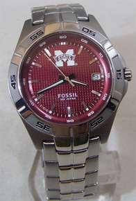 Mississippi State Bulldogs Fossil Watch Mens 3 Hand Date Wristwatch