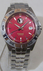 Florida State Fossil Watch Mens FSU Seminoles 3 Hand Date Wristwatch