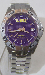 LSU Tigers Fossil Watch Mens Three Hand Date Wristwatch Li2735