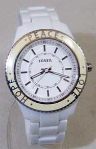 Fossil White Stella Watch Peace Love Hope Enamel Top Ring Wristwatch