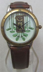 Fossil Relic Golfer Watch Vintage Golf Mens Wristwatch in Wood Box
