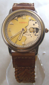 Fossil Watch Vintage Steam punk style Open Gear Wristwatch JR7562