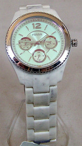 Fossil Shimmer Horn Watch Womens Acetate Tinted Dial Wristwatch ES4019