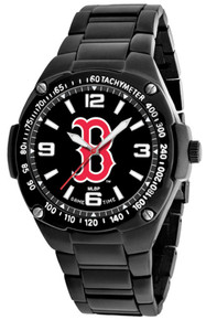 Boston Red Sox Watch, Mens Black SS Gladiator Wristwatch B Logo, New