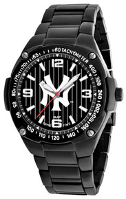 NY New York Yankees Watch Mens Black SS Gladiator Pinstripe Wristwatch