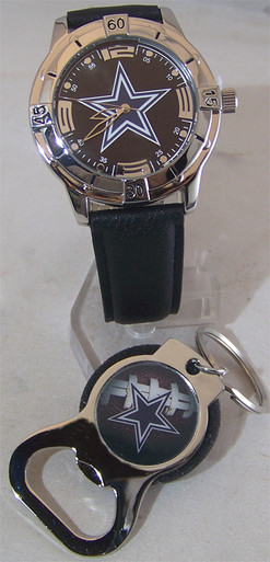 avon dallas cowboys watch and bottle opener key chain gift set. Black Bedroom Furniture Sets. Home Design Ideas
