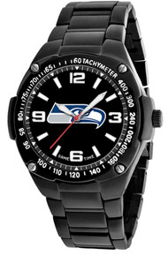 Seattle Seahawks Watch Mens NFL Black Stainless Gladiator Wristwatch New