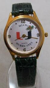Miami Hurricanes Watch Sun Time Rotating Ibis Mascot Wristwatch