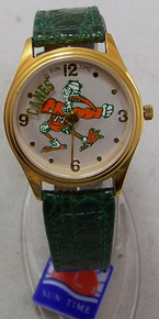 Miami Hurricanes Watch Sun Time Ibis Logo Rotating Canes Wristwatch