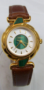 Fossil Womens Watch Vintage Malachite Style Gold Tone Wristwatch NEW