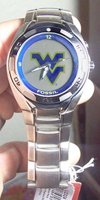 West Virginia Mountaineers Fossil Watch Mens Flashing Logo Kaleido