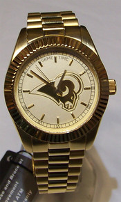 Rams Watch Mens 23K Gold Logo NFL Football Wristwatch Game Time