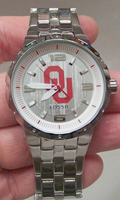 Oklahoma Sooners Fossil Watch Mens Three Hand Large Logo watch Li3065