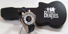 The Beatles LIverpool Watch in Wooden Guitar Display Case Blue Plaid