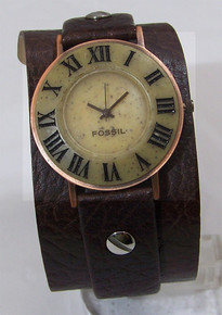 Fossil Vintage Watch Stone on Copper Mens Wide Cuff Band BW6705