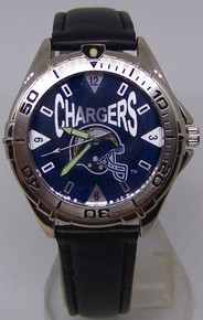 NFL Chargers Fossil Watch Mens Vintage 98 Black Leather Wristwatch