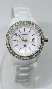 Dallas Cowboys Fossil Watch Womens White Stella Resin Date Wristwatch