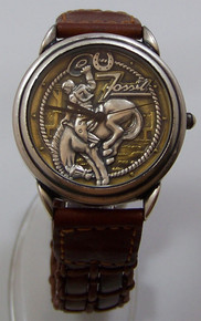 Fossil Rodeo Watch Cowboy Bucking bronco Vintage Coors Wristwatch