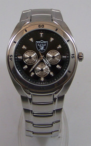 Oakland Raiders Fossil Watch Mens Multifunction Wristwatch NFL1037 New