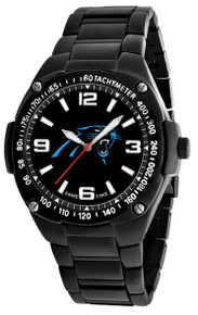 Carolina Panthers Watch Mens NFL Black Stainless Gladiator Wristwatch
