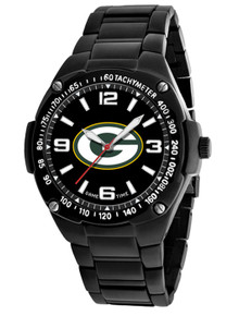 Green Bay Packers Watch Mens Black SS Game Time Gladiator Wristwatch
