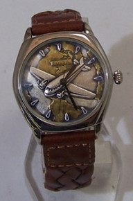 Fossil Airplane Watch Vintage Pilots Collectors Wristwatch Mens PR1138