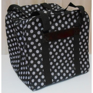 "The Hemline Dotty Serger/Overlock Bag: $29.95 Fits most brands of sergers on the market. The sturdy construction and beautiful print are just some of the reasons to buy the Hemline Dotty Serger/Overlock Bag. The Hemline Dotty Serger/Overlock Bag is lightweight and perfect for taking your serger to class. Hemline Dotty Serger/Overlock Bag in Navy Polka Dot features: Fits most brands of sergers on the market Interior Measurements 15.3""High x 12.5""Wide x 14.1"" Deep Beautiful wear resistant material Heavy duty nylon straps Roomy outer notions pocket ​Colors: Black, Navy, Grey and Mauve.​"