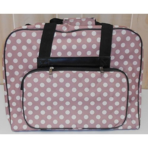 """Hemline Sewing Machine Tote Bag: $29.95 This delightful Hemline tote bag offers the sturdy and robust storage that you require for your machine in a playful white dotted pattern - that is available in 4 colors. The entire collection has the sturdy construction and attention to quality for which Hemline Machine Luggage is famous. Features: Top zips open for easy access to internal compartments Sturdy dual handles with Hook & Loop closure Hook & Loop safety strap secures your machine Strong back support Comfort grip handles Easy glide heavy duty zippers Pillow soft padded walls with a protective nylon lining Large storage pocket with extra padding                                         Dotty Tote Bag Dimensions:                                             Across the front: (length) 19""""                                             Front to rear: (width) 8""""                                             Height: 14""""                                 Colors: Black, Navy, Grey and Mauve."""