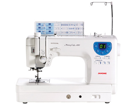 "Some sewists want a superior quality sewing machine without a lot of fluff. Janome designed the Memory Craft 6300 just for them. This machine comes with mandatory extras like memorized needle up/down, an independent bobbin winder, and a built-in thread cutter, but with fewer decorative stitches and buttonholes than other machines in its class. 60 built-in stitches and 4 buttonholes offer the basics necessary for all types of sewing, and 9"" of sewing space offer ample room for quilting and other large projects."