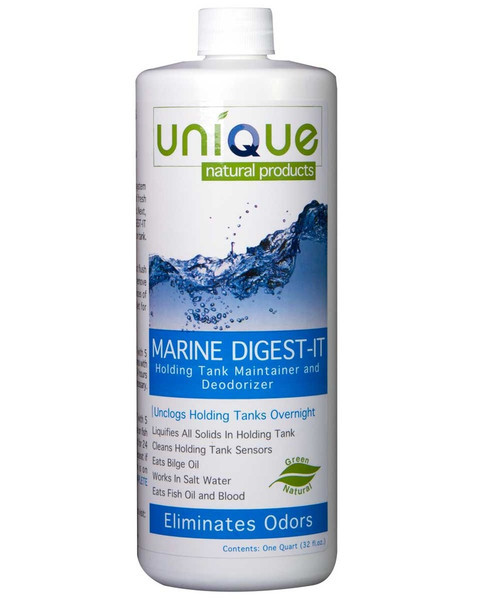 Unique Marine Digest-It Holding Tank Treatment 32oz Concentrate: Marine Digest-It is guaranteed to make pump-outs a breeze by liquifying everything in your gray and black holding tanks, including household toilet paper. It's also a tough deodorizer for bilge areas.  Use this green, natural, product to turn everything in your holding tanks to liquid so you'll never have odors or back-ups again!