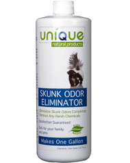 Unique Skunk Odor Eliminator will naturally eliminate skunk odors from your family, pets and property.  Use this green, natural, product to safely and effectively remove skunk odors.