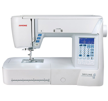 The Skyline S3 includes everything you need to make sewing easier and more enjoyable; it comes with 120 built-in stitches, including 7 one-step buttonholes and 1 alphabet. The stitch quality of the Skyline S3 is excellent and is able to speed up to 820 stitches per minute in a smooth and peaceful operation. Navigation through all of these choices is simple using the backlit LCD screen.   Janome's Superior Feed System Plus features a 7-piece feed dog to ensure that even the thickest, multi-layer projects are able to move under the needle with precision and ease. The Skyline S3's patented needle placement accuracy includes special plate markings that indicate needle drop position, provide angle marks and act as front-of-the-foot guides. In addition, the needle can be moved into 71 unique positions in order to get pinpoint accuracy for decorative stitching, applique and free motion quilting.