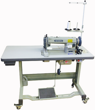 "Walking Foot (Alternating Feed) Lockstitch Sewing Machine with a Big ""M"" size Bobbin and Rotating Hook, Dial operated stitch length regulator, Reverse feed lever with fully automatic lubrication. This machine sews up to 3⁄8"" thickness with thread from size 33 up to size 138.The Complete sewing machine includes our exclusive ACF-624 Electronic Servo Motor Stand Drive Unit with adjustable ""T"" style steel legs, LED low voltage lamp, drawer and accessories. Recommended SCHMETZ brand Needle. Fabrics: 135x17 (sizes 14 - 24). Leather: 135x16 TRI (sizes 14 - 23)"