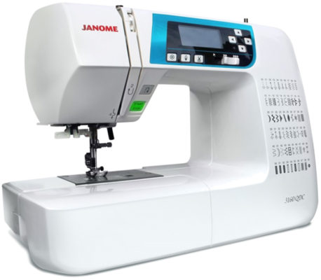 A full-featured machine made with a quilter's needs in mind, the 3160QDC will deliver all the benefits of a top of the line model, and with an affordable price. You'll find 60 stitches including 6 one-step buttonholes. Janome's Exclusive Superior Plus Feed System offers specialized box feeding on top of Janome's SFS system, ensuring even, stable feeding with any fabric. And the time saving features including memorized needle up/down, one hand needle threader, and lock stitch button make sewing easy. Best of all, this full-size machine weighs only 12 pounds, so its easy to take to classes and guild meetings!