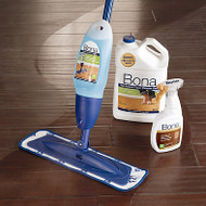 Bona® Hardwood Floor Mop Kit Spray, clean and enjoy the natural beauty of hardwood floors. The Bona Hardwood Floor Mop Kit takes cleaning to the next level by combining a high quality cleaner with a durable, premium spray mop and washable microfiber pad.