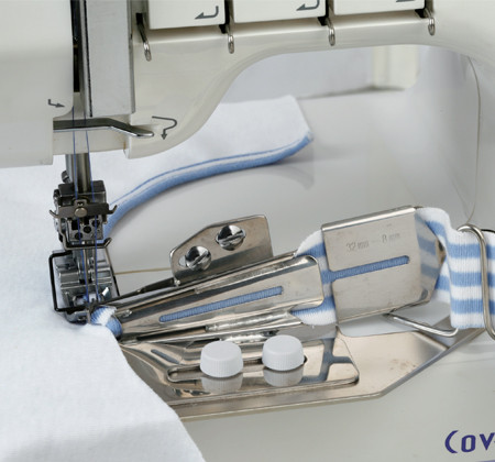 The tape binder is used for finished and covering the raw edges of stretch fabrics. The binder folds the fabric you wish to use as tape around the raw edges as you sew, allowing you to make beautifully finished necks and arm holes and bind any raw edge with ease.